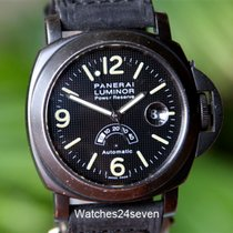 Panerai PAM 28 A Power Reserve Silver Arrow Hobnail Dial PVD T...