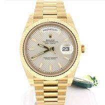 Rolex President DayDate 40 Gold Silver Motif Dial Watch 228238