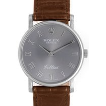 Rolex Cellini Ladies 5116-9 Grey Roman White Gold Brown...