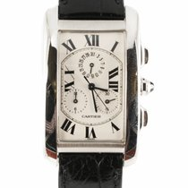 Cartier Tank Americaine Chrono 18k White gold Quartz Watch...