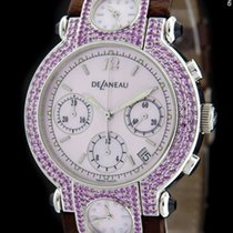 DeLaneau White Gold THREE TIME ZONES Pink Sapphire Watch