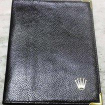 Rolex Genuine Vintage black leather card holder wallet