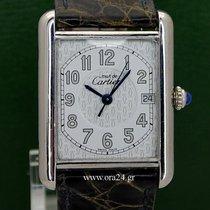 Cartier Must De Cartier Tank Silver 925 Date Roman Dial B&P