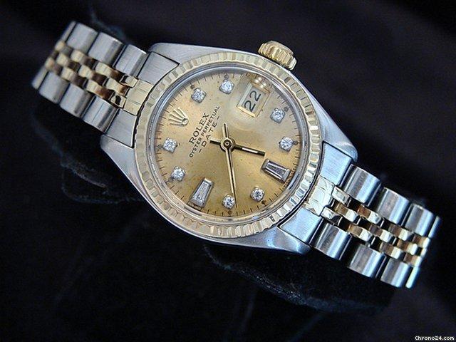 ref 6917 rolex劳力士原装的两色14k黄金和不锈钢表链jubille