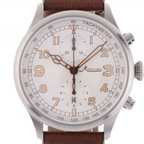 Mercure Aviatik 1915 Chronograph Stahl Automatik Lederband 44mm