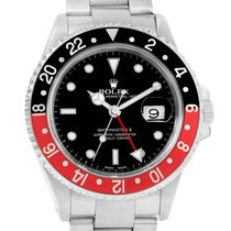 Rolex Gmt Master Ii Black Red Coke Bezel Watch 16710 Box Papers