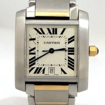 Cartier Mens Large Cartier 18k Yellow Gold Stainless Steel...