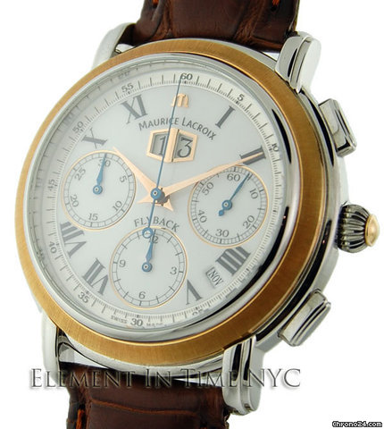 Maurice Lacroix Masterpiece Flyback Annuaire Chrono 18kt Rose Gold Bezel B+P