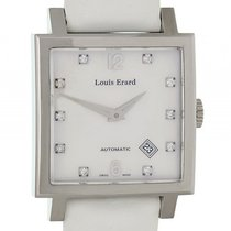 Louis Erard La Carre Date Stahl Diamond Perlmutt 35x35mm