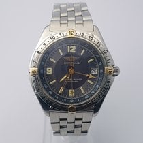 Breitling Antares World GMT Steel Gold Blue Dial Automatic 39.5mm