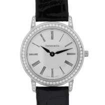 Tiffany & Co. Platinum Diamond Bezel Silver Roman Dial Watch
