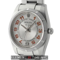 Rolex Air-King Engine Turned Bezel Silver Concentric Orange...