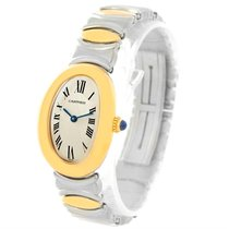Cartier Baignoire Ladies Steel 18k Yellow Gold Watch W15045d8