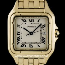 Cartier 18k Yellow Gold Silver Roman Dial Panthere Gents Watch