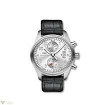 IWC Pilot Spitfire Silver Dial Chronograph Black Alligator...