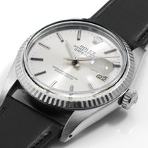 Rolex 36mm Steel Datejust Silver Dial Black Leather Quickset...