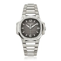 Patek Philippe Nautilus Ladies White Gold 32mm Diamond Bezel...