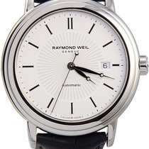Raymond Weil Maestro Silver Dial Black Leather Mens Watch...