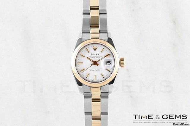 Rolex Two-Tone White Stick Dial Smooth Bezel Oyster Band Datejust