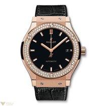 Hublot Classic Fusion 18k Rose Gold Diamonds Leather Men's...