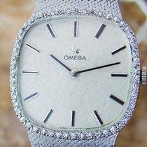 Omega Diamond Manual 14k Solid White Gold Mens 1970s Luxury...