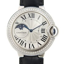 Cartier Ballon Bleu 18k White Gold Silver Automatic WJBB0028