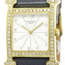 Hermès H Watch Custom Diamond Gold Plated Quartz Mens Watch...