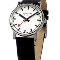 Mondaine Mens Evo 35mm - White Face - Black Leather Strap
