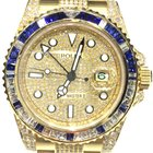 Rolex GMT Master II 2 Yellow Gold Diamonds and Blue Sapphires