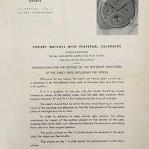 Patek Philippe Vintage Setting Instructions & Watchmaker...