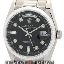 Rolex Day-Date President 18k White Gold Black Diamond Dial...