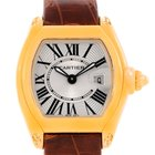 Cartier Roadster Ladies 18k Yellow Gold Brown Strap Watch...