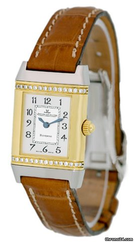 Jaeger-LeCoultre Lady's Stainless Steel & 18K Yellow Gold  Diamond Reverso Duetto Strapwatch