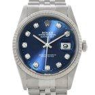 Rolex Datejust Steel 18k White Gold Diamond Mens Watch 16234