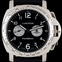 Panerai 18k White Gold Rare Luminor Chronograph Gents B&P...
