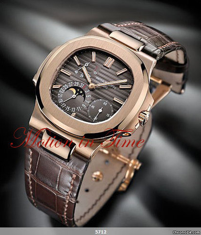Patek Philippe 5712R NAUTILUS JUMBO ROSE GOLD POWER RESERVE MOONPHASE