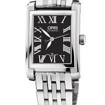 Oris Rectangular Date, Roman, Black Dial Steel Bracelet