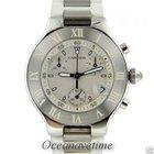 Cartier Chronoscaph 21 Large White Rubber Bracelet Stainless...