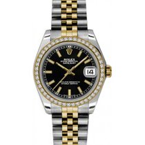 Rolex Datejust Ladies Midsize 178383-BLKSJ Black Index Yellow...