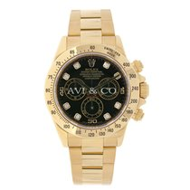 Rolex DAYTONA 18K Yellow Gold Watch Black Diamond Dial Box/Papers