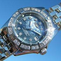 Breitling Callistino Stahl Perlmutt Blaues Diamant Zifferblatt...