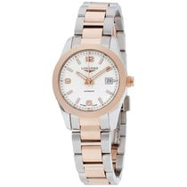 Longines Conquest Automatic Silver Dial Rose Gold Ladies Watch...