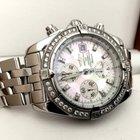 Breitling Chronomat Evolution Steel Pearl Dial Diamond Bezel...