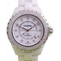 Chanel J12 H2013 42mm White Ceramic Diamond Bezel Dial...