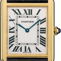 Cartier TANK SOLO WATCH, Large model, 18K Yellow Gold, Leather