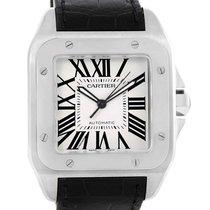 Cartier Santos 100 Silver Dial Steel Black Strap Mens Watch...
