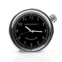 Giuliano Mazzuoli Manometro Table Clock Polished Steel Black Dial