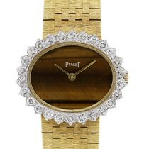 Piaget 18k  Gold Tiger's Eye Dial Diamond Bezel Watch