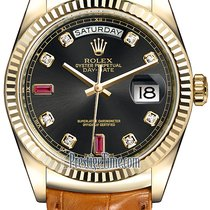 Rolex Day-Date 36mm Yellow Gold Fluted Bezel 118138 Black...