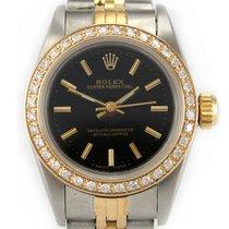 Rolex 67183 Oyster Perpetual 18k Gold 1ct Diamond Bezel Serial E